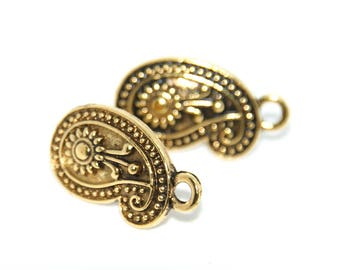 2 ear studs ethnic paisley - connection in metal gilded antique 22x13mm