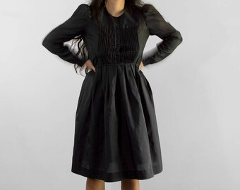 70s Southern Bruja Dress / Witchy Long Sleeve Pleated Front A Line Dress / Small-Large