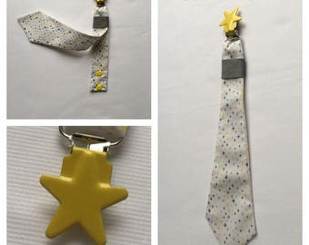 Pacifier clip tie printed cotton fabric gray and yellow stars