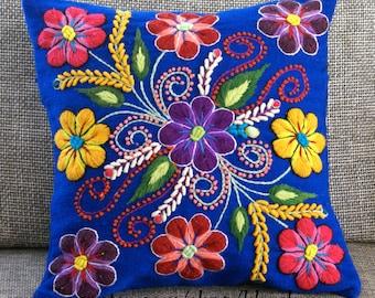 Peruvian Pillow covers Hand embroidered flowers 16 x 16 Sheep & alpaca wool handmade Persian Blue