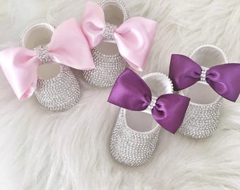 Handmade Swarovski Crystals Baby Shoes / Luxury Baby Shoes /  Baby Girl Gift / Purple Baby Girl Shoes / Pink  Baby Girl Shoes / Bling Shoes