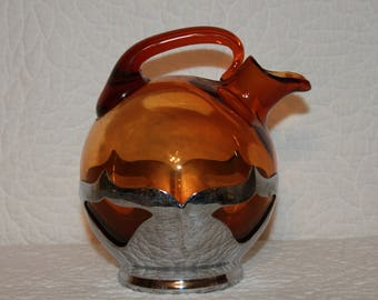 B5 Amber Glass Ball Pitcher ? 1920 Farber Bros Chrome  Cambridge Glass Decanter Great for Watering Plants Missing Stopper Read Description