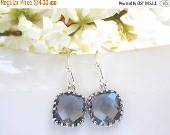 SALE Wedding Jewelry, Grey Earrings, Gray, Charcoal, Silver, Bridesmaid Jewelry, Petit Earrings, Dangle, Bridesmaids Gifts, Wedding Gifts, D