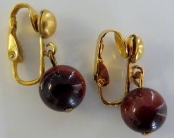 Clip on earrings-brown earrings-gemstone earrings-semiprecious earrings-gold plated-handcrafted-one-off-tiger eye