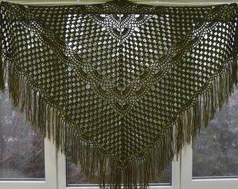 Length - top 220 cm, hand knit crochet shawl wrap - triangle shape, Russian shawl vintage style   f2.24