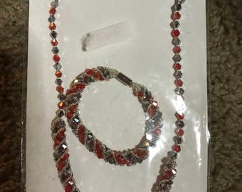 Crystal bead necklace and bracelet