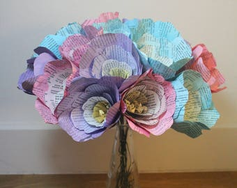 Beautiful bouquet of paper flowers, book print recycled flowers, ideal first anniversary gift