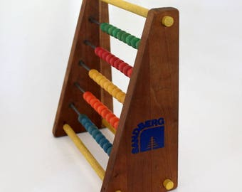 Sandberg Wooden Abacus, Colorful Beads, Math Learning Tool, Vintage Abacus, Homeschool Aid