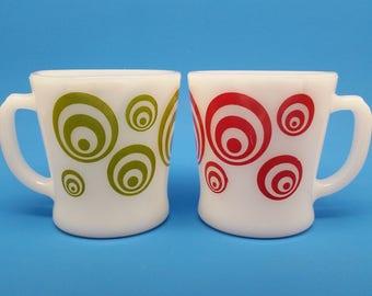 Rare Fire King Mugs, Fire Kin Mugs Concentric Circles