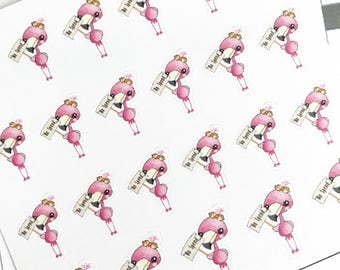 Mini Planner Stickers : 076 Pinky Flamingo on No Spend / Kawaii