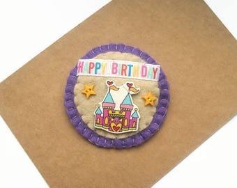 Little Princess Birthday Badge, Birthday Gift for Little Girls, Fairytale Castle, Princess Birthday, Purple Felt Pin Badge
