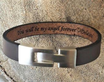 FREE SHIPPING-Bracelet For Men,Custom Men Bracelet,Personalize Leather Bracelet, Leather Men Bracelet,Engrave Message Bracelet,Men Bracelet