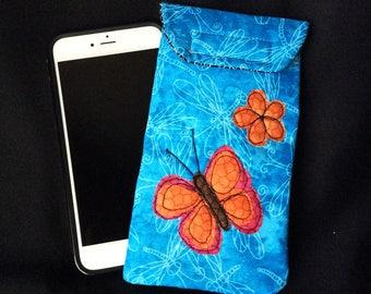 iPhone 6/7 Plus case, Smart phone case, padded batik fabric pouch, Gadget case. Large phone pouch, iPhone bag, eyeglass, iPhone 7 case 6P#31