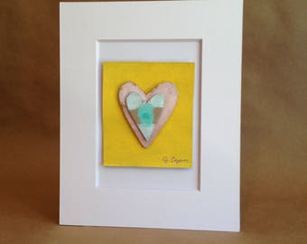 Collage Painting - Rumpled Heart #50