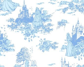 Disney Princess Fabric Blue Toile Flannel-Back Satin Fabric Disney Satin *RARE*