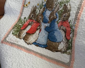 Peter Rabbit Mrs Bunny, Flopsy, Mopsy and Cottontail baby toddler handmade blanket quilt Beatrix Potter nursery decor baby gift