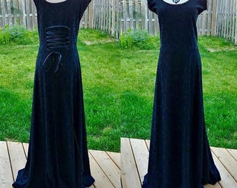 Long Romantic Goth Corset Back Dress size L/XL Stretch Velvet