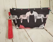 Wooden Horses - Nordic Knitting Project Bag, Small Zippered Wedge Bag, Zipper Knitting Bag, Cosmetic Bag WS0040