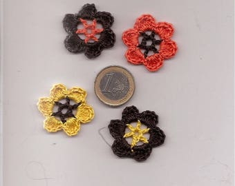 SET of 8 SCRAPBOOKING Brown cotton CROCHET flowers