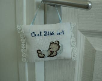 door cushion for nursery, embroidered cross-stitch by hand