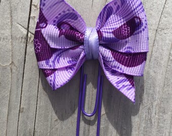 Alice in Wonderland Inspired Tea Cup Purple Bow Planner Clip