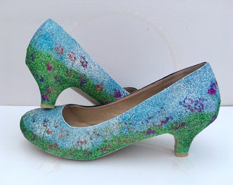 Summer Meadow Kitten Heels - Glitter Wedding Shoes - Bridesmaid - Spring Flowers - Glitter Shoes - Prom Heels  - Party - UK Size 3-8