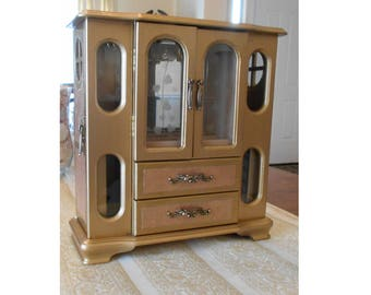 Gold Jewelry Box. Jewelry Armoire, Wood Jewelry box