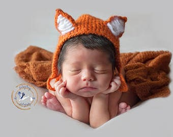Newborn Fox Bonnet/Knit/Burnt Orange/Boy/Girl-READY TO SHIP