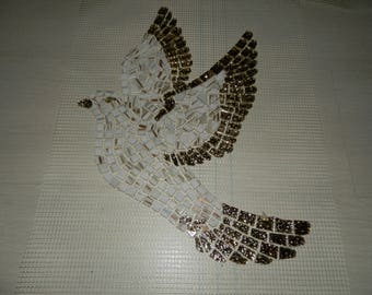 Large Dove mosaic glass and vétrocristal gold on order