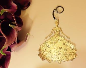 Keychain leather handbag Golden butterflies wedding dress