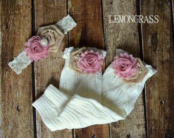 CHOOSE YOUR COLOR - Little Girl's Knitted Burlap Flower Leg Warmers - Toddler & Girl Boot Socks - Children's Boot Toppers - Flower Girl