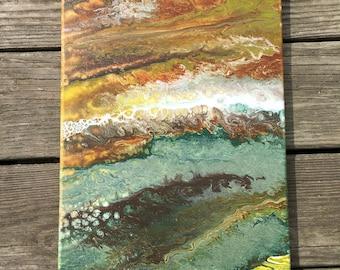 Earth Tones Fluid Painting / Flow Art / Acrylic Painting / Canvas / Home Decor