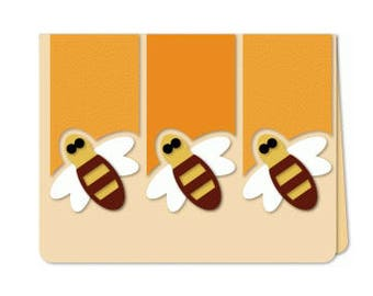 Buzzing Around Bee Blank Card , Free Shipping , PaperCut , Wings , Yellow , Honey , Spring , Summer