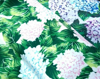 Ortensia Hydrangea print chiffon and satin fabric #t0001