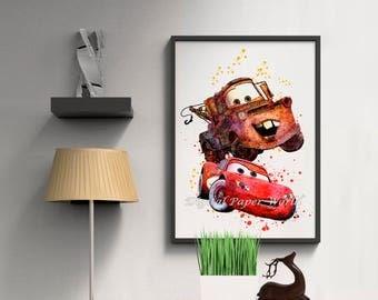 Disney Cars print Instant download Lightning McQueen digital poster Printable art Mater art print Kids room wall art Playroom decoration D38