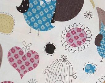 cotton linen fabrics HIBOU 2 color BLUE 0.5M