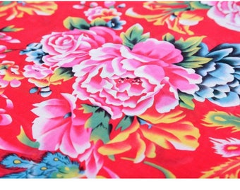 fabric cotton clothing red Peony semi-solid 5 m