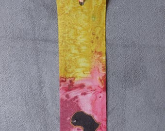 "collection ""Afrik"" gradient gold and red silk bookmark M49"