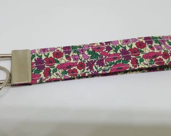 liberty fabric wrist key fob key chain PETAL&BUD PINK purple