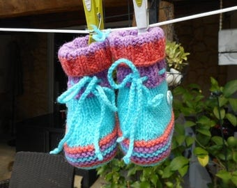 3/6 MONTH MULTI-COLORED BOOTIES