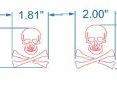 """Skull & Crossbones 1.81"""" x 2"""""""