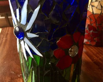 Spring blooms mosaic candle holder. Glass hurricane candle holder. Mosaic votive candle holder. Candle sconce.
