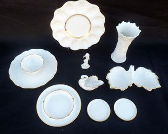 Collection of 9 Lenox Porcelain Items with 22K Rims, Ivory Color: Egg Plate, Chip N Dip, Vase