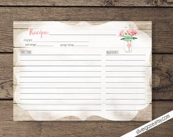 Recipe Card printable - INSTANT DOWNLOAD _175