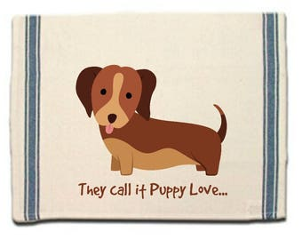 Dachshund Kitchen Towel,Whimsical Dish Towel,Doxie Tea Towel,Dish Cloth, Dachshund Gift, Doxie love, Puppy Love, Gift for Her