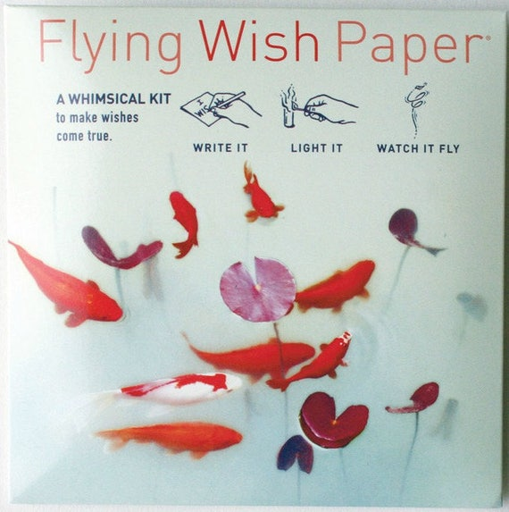 Flying Wish Paper - koi pond design - package of 15 wishes, make a wish