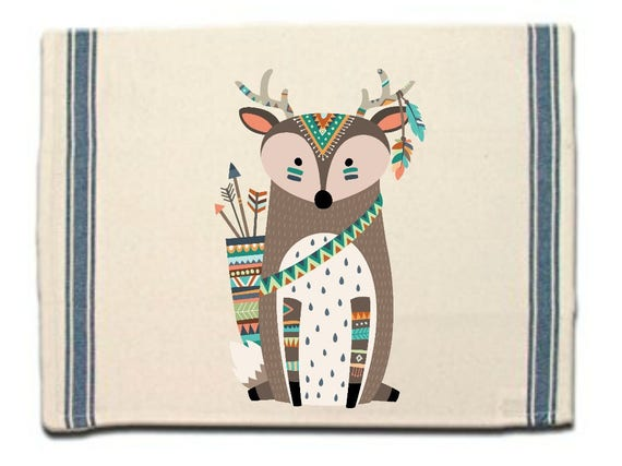 Tribal Deer Kitchen Towel,Dish Towel, Tea Towel,Flour Sack Material,Woodland Tribal Animals Dish Towels,Flour Sack Kitchen Towel,Dish Cloth