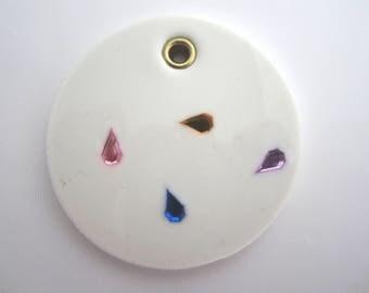 white silicone rubber jewellery pendant with colorful pearl, modern minimalist pendant round shape  design