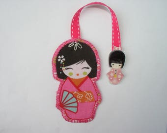 Bookmark kokeshi pink, purple and Red