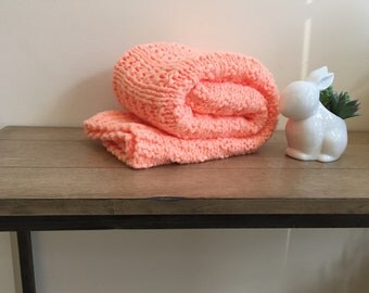Hand knit orange baby blanket/easy to wash and dry hand knitted orange baby blanket/car seat blanket/stroller blanket/crib blanket
